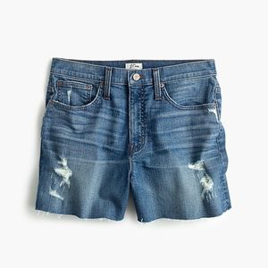 J Crew High Rise Distressed Shorts